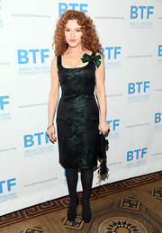 Bernadette Peters showed off her slim and petite figure in an emerald and black cocktail dress at the Brain Trauma Foundation Gala.