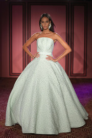 Joan Smalls was a stunner in this textured strapless ball gown while walking the Brandon Maxwell runway.
