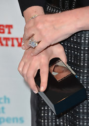 Kathy Hilton complemented her dress with a black box clutch at Bravo's 'Most Talkative' event.