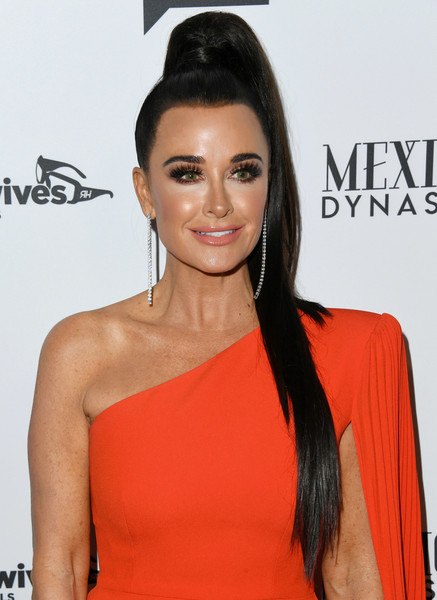 More Pics of Kyle Richards Ponytail (1 of 9) - Kyle Richards Lookbook - StyleBistro [the real housewives of beverly hills,season,hair,hairstyle,eyebrow,orange,beauty,shoulder,lip,long hair,black hair,eyelash,arrivals,kyle richards,gracias madre,west hollywood,california,premiere party,bravo,mexican dynasties]