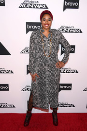 Alicia Quarles donned a snakeskin-print shirtdress for the 'Project Runway' New York premiere.
