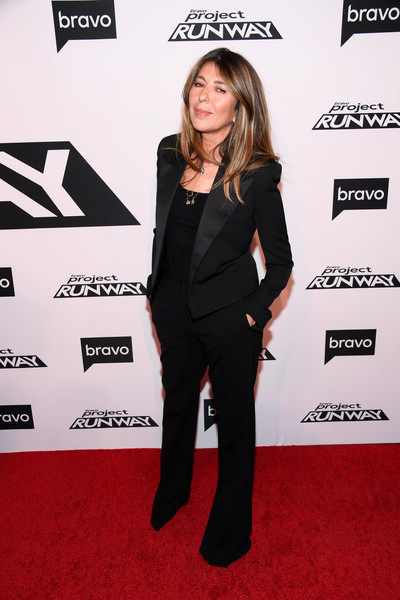 Nina Garcia kept it low-key in a black pantsuit at the 'Project Runway' New York premiere.