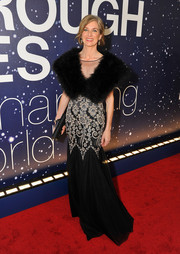 Jennifer A. Doudna was vintage-glam at the Breakthrough Prize Awards in a black-and-white gown with a fur-accented bodice and floral embellishments on the skirt.