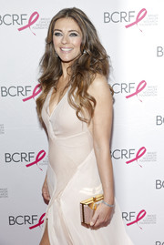 Elizabeth Hurley complemented her gown with an elegant box clutch when she attended the Pink Carpet Party.