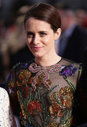 Claire Foy kept it simple with this side-parted bun at the European premiere of 'Breathe.'