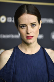 Claire Foy attended the Zurich Film Festival premiere of 'Breathe' wearing a center-parted ponytail.