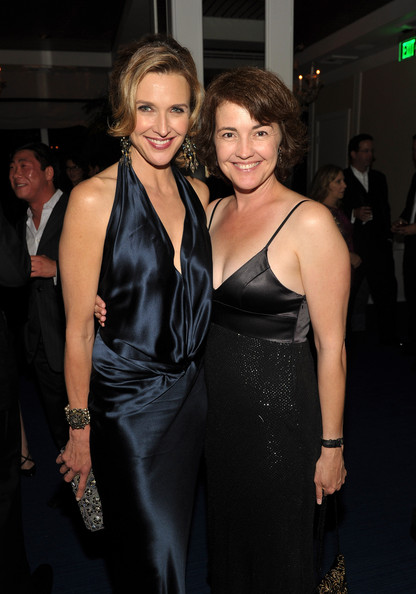 Brenda Strong Pearl Bracelet [dress,clothing,fashion,little black dress,event,cocktail dress,shoulder,haute couture,textile,satin,brenda strong,guest,mr. c beverly hills,california,amc emmy,amc after party,l,annual emmy awards]