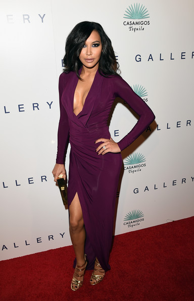 Naya Rivera chose gold Casadei strappy sandals to complete her sizzling red carpet look.