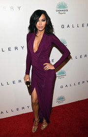 Naya Rivera oozed seductive appeal during Brian Bowen Smith's Wildlife show in a slinky purple Donna Karan gown with a deep-V neckline and a thigh-baring slit.
