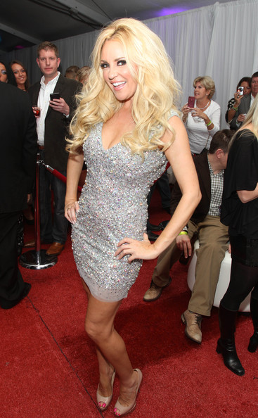 Bridget Marquardt Beaded Dress [clothing,dress,red carpet,carpet,shoulder,cocktail dress,flooring,blond,hairstyle,lady,bridget marquardt,kendra wilkinson,holly madison,laces,ninth annual leather,indianapolis,indiana,regions bank tower,event]