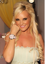 Bridget showed off her pink leather watch while making a promotional appearance.
