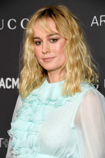 Brie Larson Medium Wavy Cut with Bangs