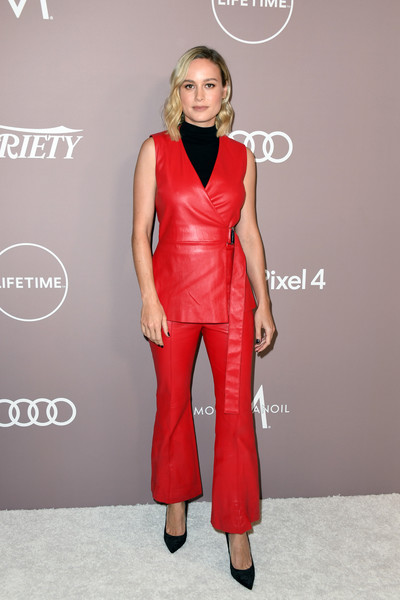 Brie Larson Pantsuit [clothing,fashion model,dress,red,carpet,fashion,cocktail dress,red carpet,shoulder,satin,variety,lifetime,power of women,power of women,los angeles,beverly hills,california,beverly wilshire four seasons hotel,arrivals,brie larson]