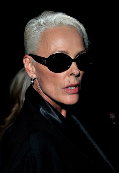 Brigitte Nielsen Short Side Part [eyewear,sunglasses,hair,face,glasses,cool,eyebrow,hairstyle,chin,vision care,day one,celebrities,brigitte nielsen,front row,england,london,somerset house,ppq spring,fashion show,lfw]