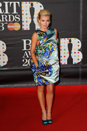 Katherine Jenkins refused to be a wallflower in her voluminous print cocktail dress.