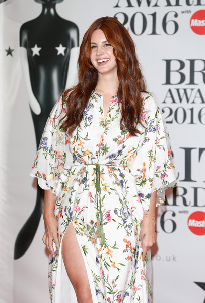 More Pics of Lana Del Rey Embroidered Dress (1 of 7) - Dresses & Skirts Lookbook - StyleBistro [fashion model,clothing,shoulder,fashion,dress,hairstyle,fashion design,joint,long hair,magazine,lana del rey,brit awards,the o2 arena,london,england,red carpet arrivals]