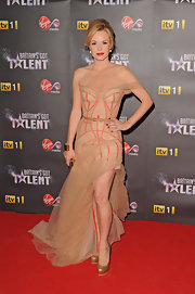 Amanda Holden made a dramatic appearance at the 'Britain's Got Talent' party in this gauzy corset gown.
