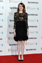 Emma Stone looked perfectly polished in a beaded LBD by Chanel at the BAFTA nominees party.