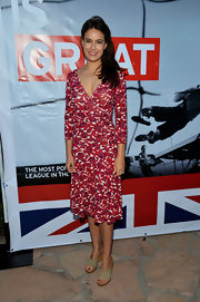 Sophie Winkleman looked amazing wearing a floral wrap-dress at the British Consulate Olympics.