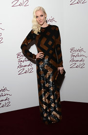 There was no shortage of sequins in Portia Freeman's black and brown gown at the British Fashion Awards.