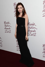 Lily Collins looked gothically gorgeous in this simple black gown and Merlot lips.