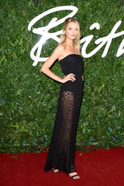 Lily Donaldson jumped in on the sheer trend with this strapless black number during the British Fashion Awards.