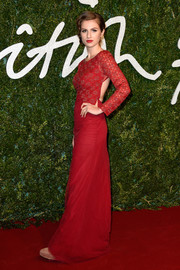 Tali Lennox was red-hot in a Toujouri backless gown at the British Fashion Awards.