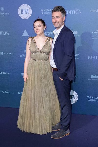 More Pics of Florence Pugh Empire Gown (1 of 6) - Florence Pugh Lookbook - StyleBistro [dress,formal wear,fashion,hairstyle,premiere,shoulder,carpet,event,gown,fashion design,red carpet arrivals,florence pugh,r,william oldroyd,british independent film awards,england,london,old billingsgate,l]