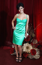 Actress Kym Marsh showed off her green bustier dress, which did a nice job of boosting her assets.