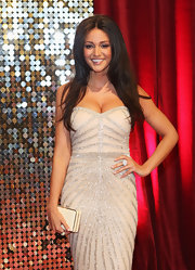 Michelle Keegan complemented her fab dress with a simple ivory box clutch at the British Soap Awards.