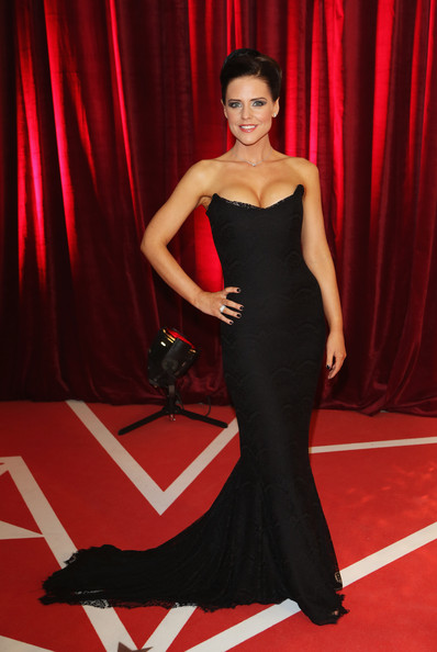 Stephanie Waring wowed in a curve-hugging black strapless gown at the British Soap Awards.