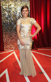 Nikki Sanderson was totally glowing at the British Soap Awards in a sequined gold evening dress with a sheer skirt.