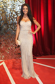 Michelle Keegan was a stunner at the British Soap Awards in a nude strapless gown with Art Deco-inspired beading.