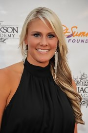 Brittany Jackson wore her ultra-long tresses in soft side-swept waves.