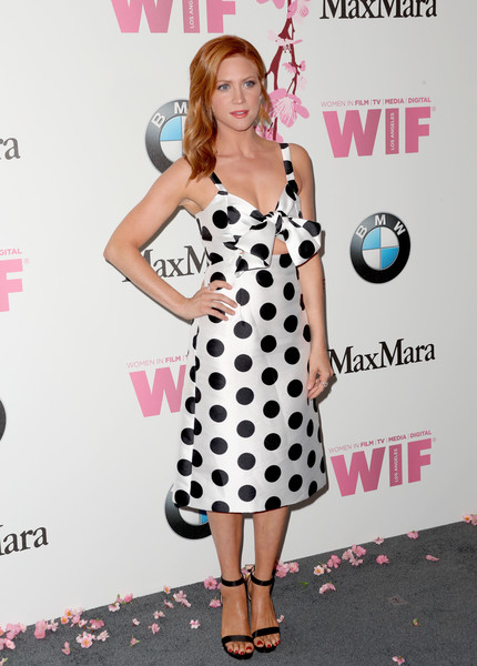 Brittany Snow Strappy Sandals [film,clothing,dress,polka dot,pattern,design,cocktail dress,premiere,carpet,style,flooring,women,brittany snow,women in film 2017 crystal lucy awards,crystal lucy awards,the beverly hilton hotel,beverly hills,bmw,max mara,red carpet]