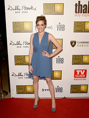 Carly Chaikin's periwinkle draped dress had a flowing Grecian feel to it on the red carpet.