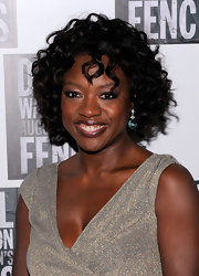 Viola Davis wore 'True Blue' quartz earrings with diamond cut crystals.