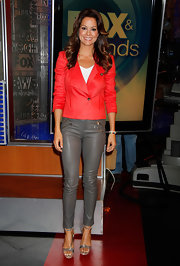 Brooke wasn't afraid to pair leather on leather when she sported this red leather blazer over gray leather pants!