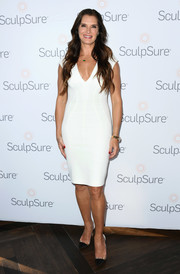 Brooke Shields styled her dress with on-trend PVC cap-toe pumps.