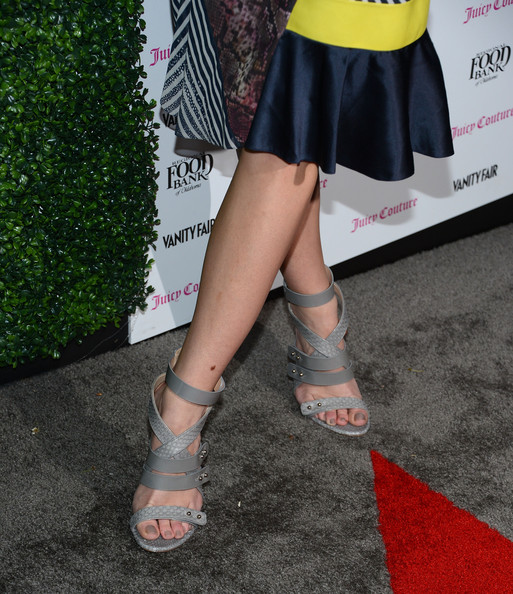 Brooklyn Decker Strappy Sandals [human leg,leg,footwear,clothing,red,ankle,thigh,joint,carpet,calf,arrivals,olivia munn,brooklyn decker,california,los angeles,chateau marmont,vanity fair,juicy couture celebration of the 2013 vanities calendar]