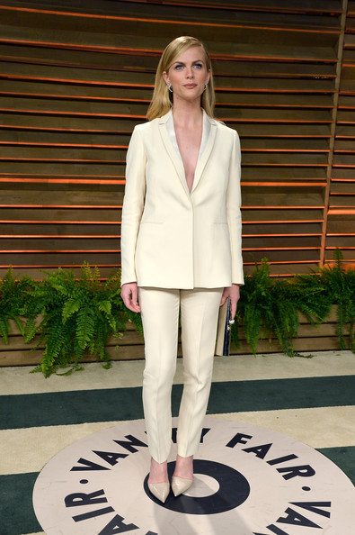 Brooklyn Decker Pantsuit [white,clothing,fashion,outerwear,pantsuit,blazer,fashion model,suit,footwear,fashion design,brooklyn decker,graydon carter,stars,west hollywood,california,vanity fair,oscar party]