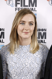 Saoirse Ronan attended the BFI London Film Fest photocall for 'Brooklyn' wearing her hair in a casual lob.