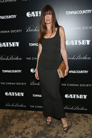 Carol Alt chose a long black maxi for her sleek and minimal look at the NYC screening of the 'Great Gatsby.'
