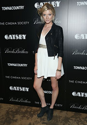 Sophie Sumner chose a black leather jacket to add a touch of edge to her look at the screening of the 'Great Gatsby.'