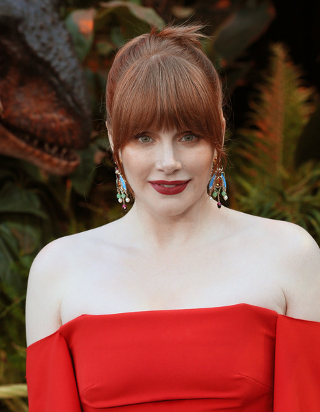 Bryce Dallas Howard Ponytail [jurassic world: fallen kingdom,hair,face,shoulder,hairstyle,lip,red,beauty,lady,skin,bangs,arrivals,bryce dallas howard,walt disney concert hall,california,los angeles,universal pictures,amblin entertainment,premiere,premiere]