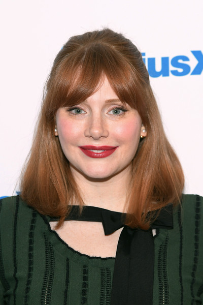 Bryce Dallas Howard Half Up Half Down [celebrities,bryce dallas howard,actress,hair,face,hairstyle,blond,eyebrow,lip,bangs,brown hair,beauty,chin,new york city,siriusxm,siriusxm studios]