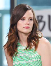 Sarah Ramos looked sweet with her face-framing waves while visiting the Build Series.
