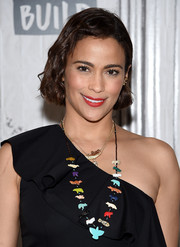 Paula Patton went for playful styling with a colorful necklace adorned with animal beads.