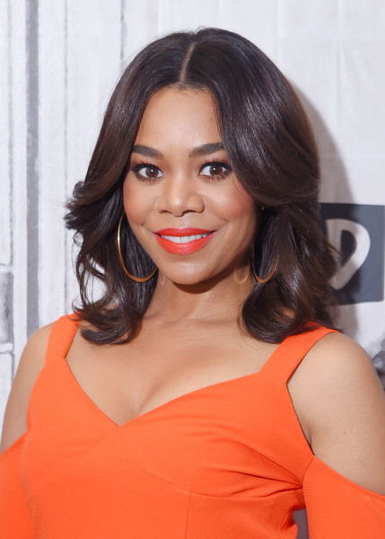 Regina Hall showed off a perfectly styled flip while visiting the Build Series.