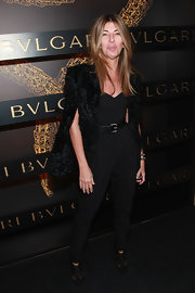 Nina Garcia chose a black jumpsuit with a sweetheart neckline for the Bulgari Celebrates Icons of Style event.